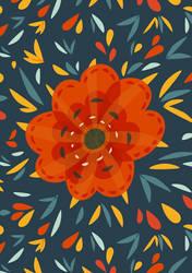 Decorative whimsical orange flower by azzza
