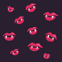 Vampire lips and fangs pattern  by azzza