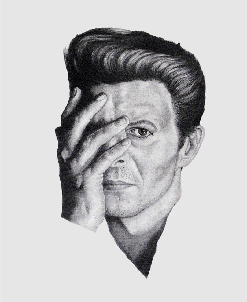 David Bowie Pretty Pink Rose by monstarart