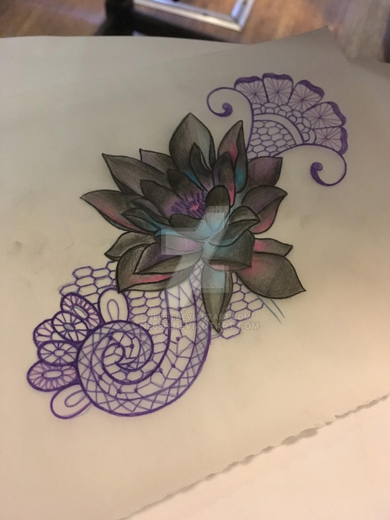Black Lotus Lace Tattoo Design By Ne55h On Deviantart