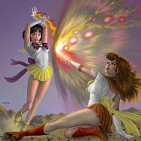 Sailor Sun Vs Sailor Io by AlanGutierrezArt
