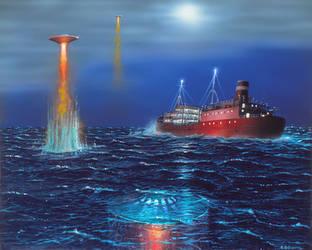 Encounter At Sea by AlanGutierrezArt