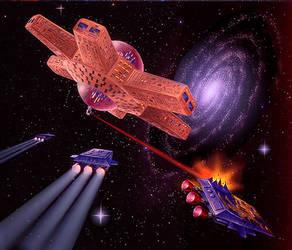 First Space Battle by AlanGutierrezArt