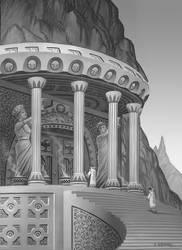 Mountainside Temple by AlanGutierrezArt