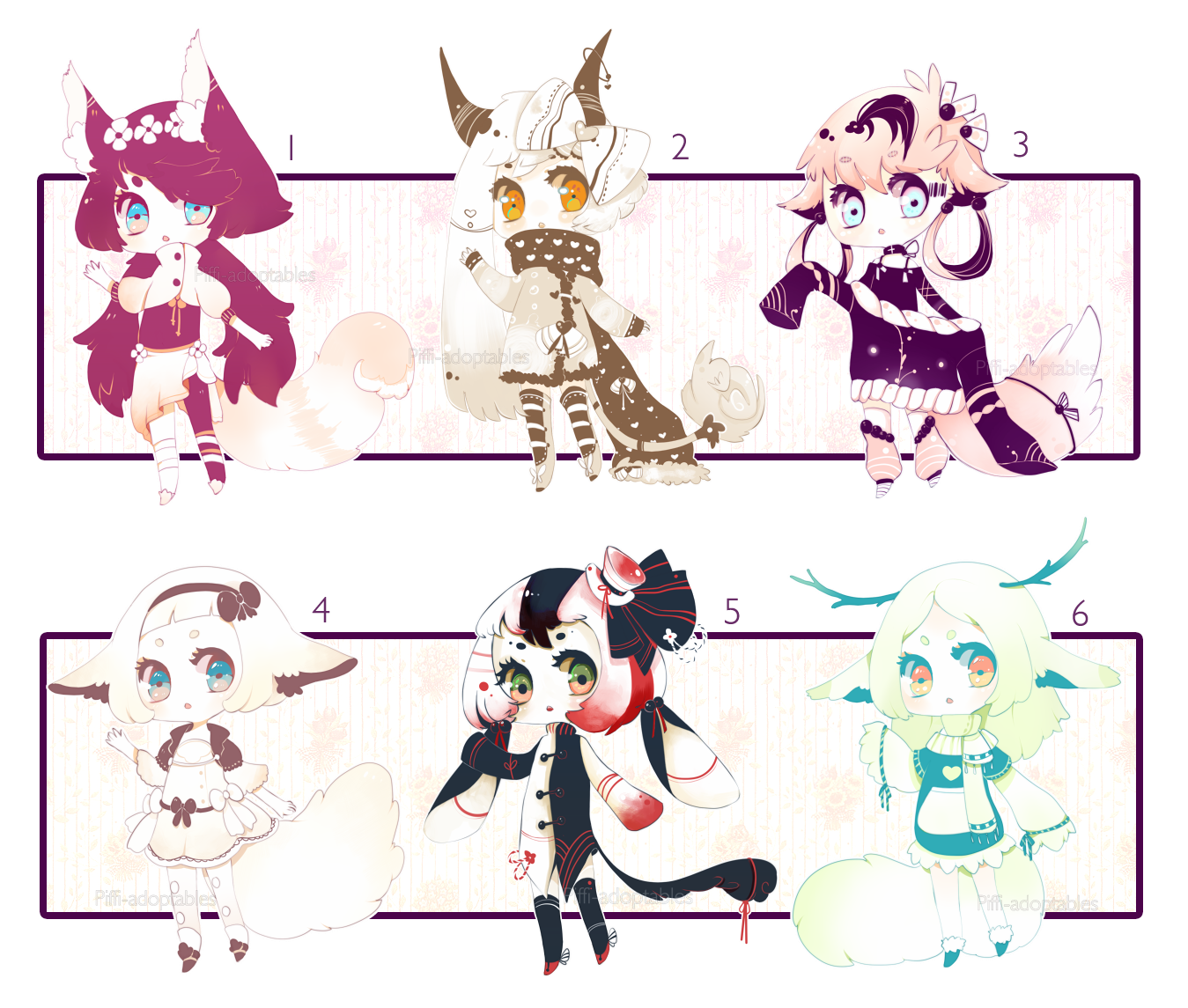 [CLOSED] ADOPT AUCTION 32 - 6 adopt by Piffi-adoptables