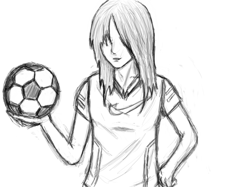 It is a photo of Smart Girl Playing Soccer Drawing
