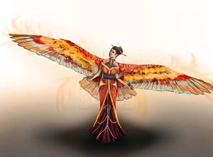 Phoebe, Wings outstretched