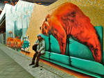 Karl in front of Berlin Bear. Close to Berlin Wall by sk8art