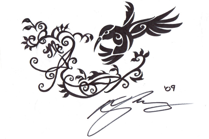 tribal bird tattoos. Humming ird tribal by