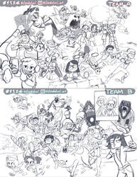 Sketch of Disney Crossover Snowball Fight by Issabolical