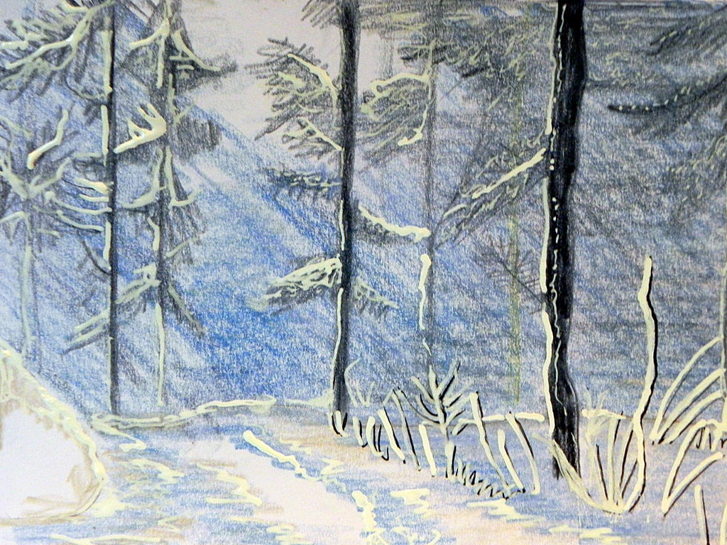 Learning to draw winter inspired by by Lou-in-Canada
