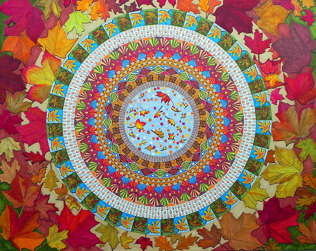 Huge Mandala2 My Neighbourhood - Traditional work by Lou-in-Canada