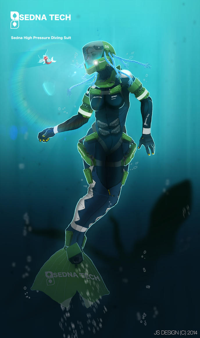 commission sedna mermaid diving suit by futurefavorite on