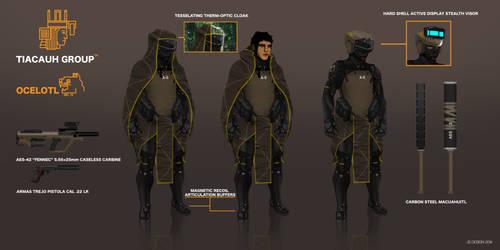 Commision: Ocelotl MK. IV Sneaking Suit by LoomingColumn