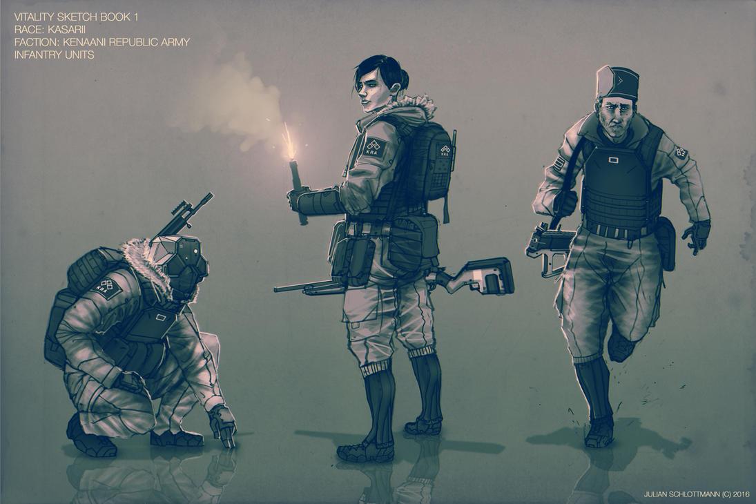Vitality Sketch Book 1: Kasarii KRA soldiers by FutureFavorite