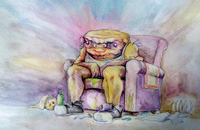 Pig watching tv by plasztikszar