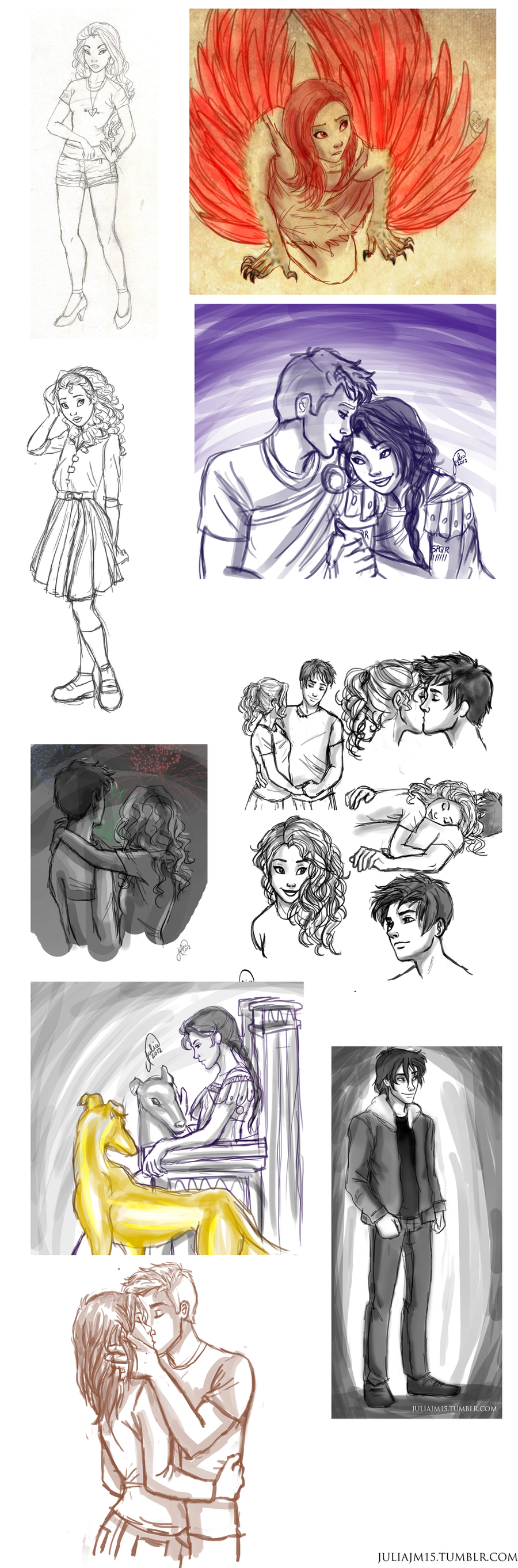Heroes of Olympus Sketch Dump by juliajm15