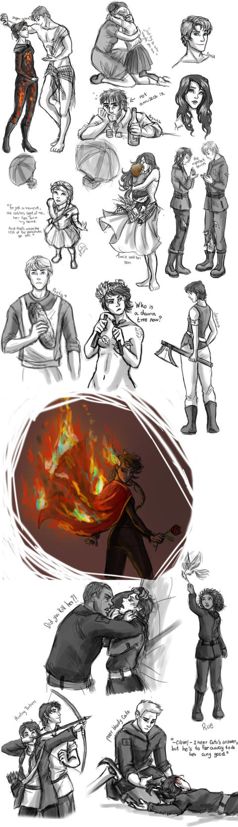 The Hunger Games Sketch Dump by juliajm15