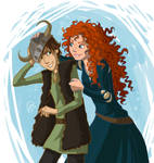 Merida and Hiccup by juliajm15