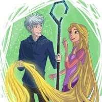 Jack Frost and Rapunzel by juliajm15