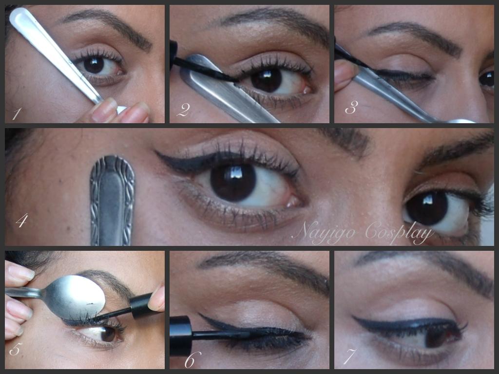 Eyeliner tutorial using a spoon