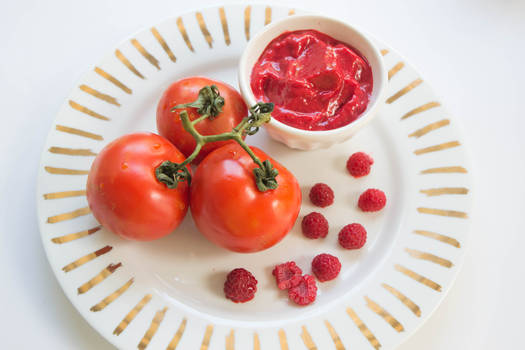 Mise en place - Raspberry and tomatoes