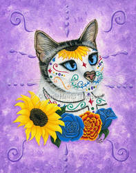Day of the Dead Cat Sunflowers