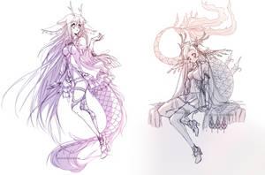 Sketch Commission Batch 8 - Yoonsi/Minnisu by WhiteKana