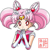 Sailor Chibi Moon Face Anime Style by xuweisen