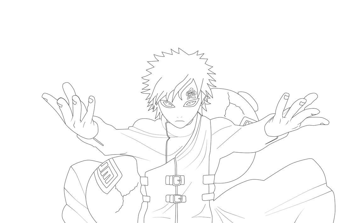 Naruto Shippuden Lineart : Gaara lineart by braidoner on deviantart