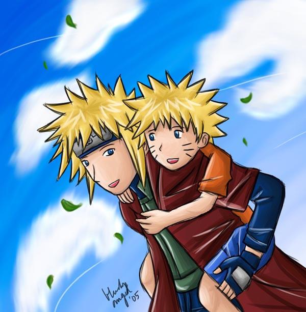 Yondaime and Naruto by yun-yun