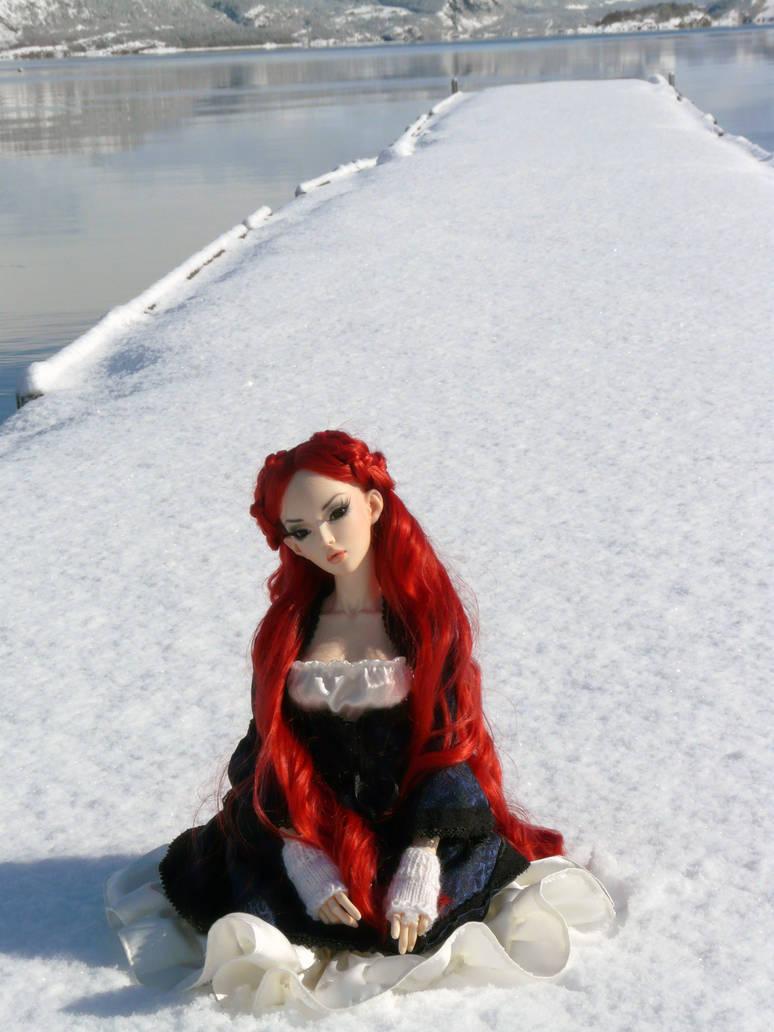 On a snowy pier