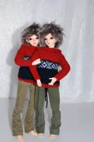 Elladan and Elrohir in classic 'Marius' sweaters by idrilkeeps