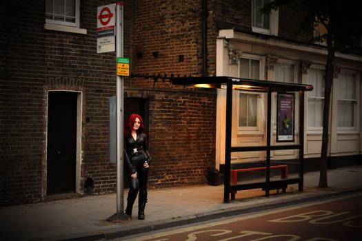 London Bus stop - Black Widow cosplay