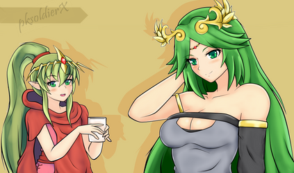 Tiki and Palutena by pksoldierX