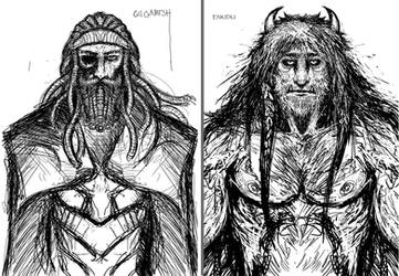 Gilgamesh and Enkidu by Abelardo