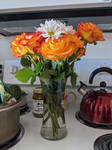Tangerine kissed roses and white daisies 007