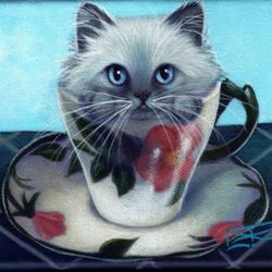Vintage Rose Teacup Kitty by carefulwhatyawishfor