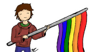 Person holding Pride Flag