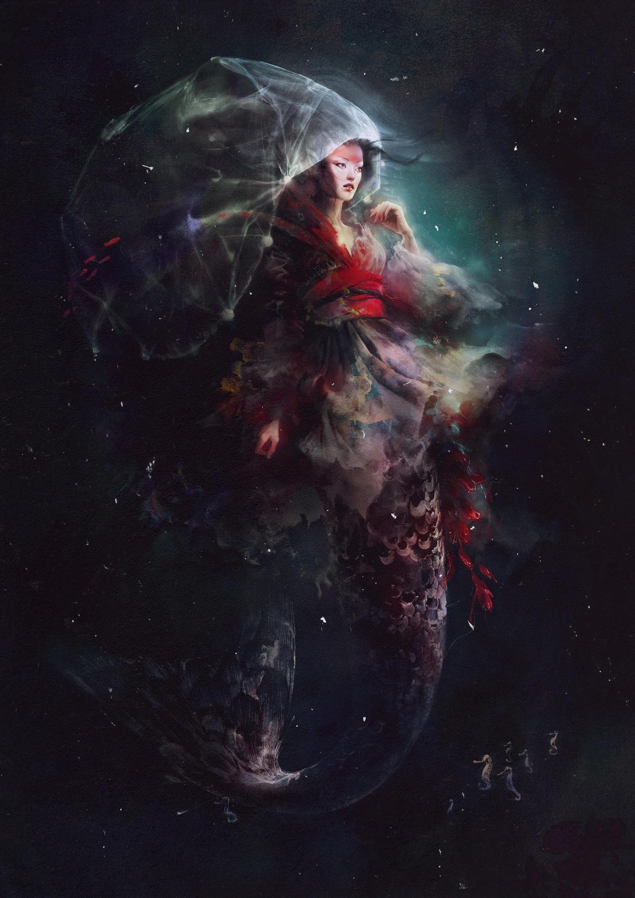 Jellyfish mermaid by maria menshikova on deviantart for Jelly fish art