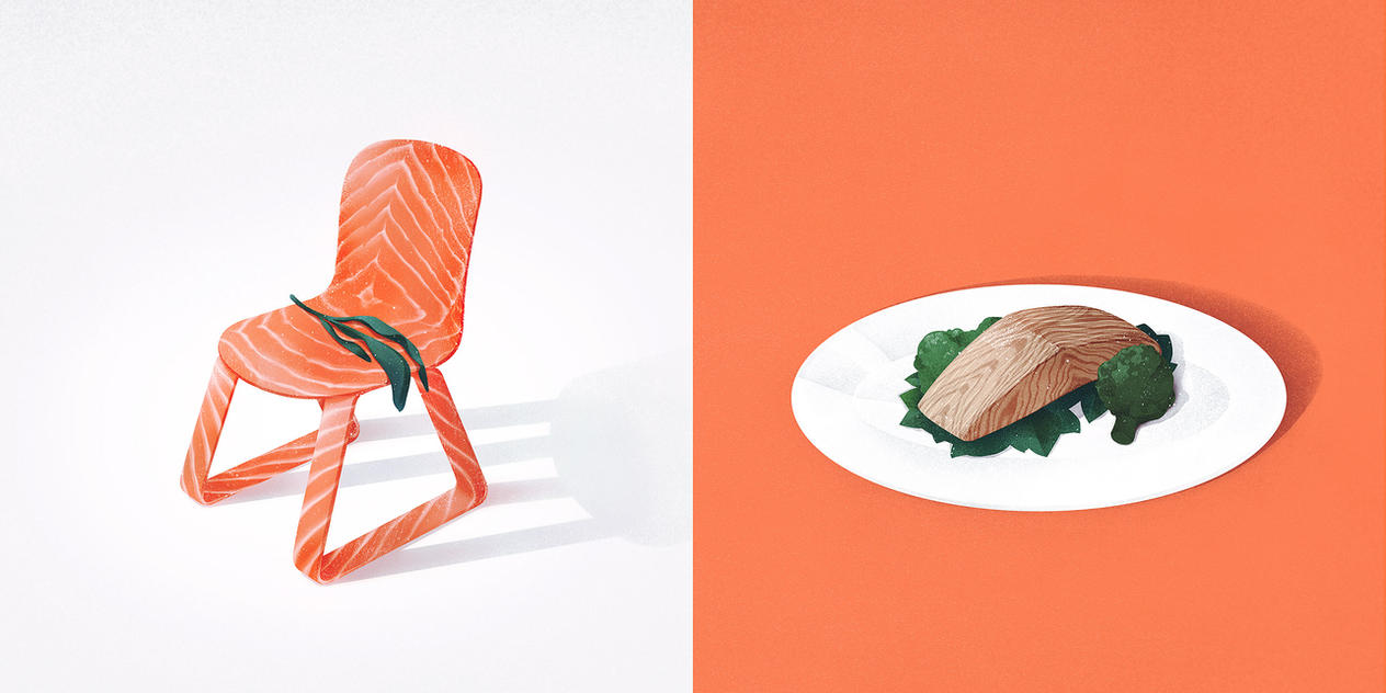 Salmon and seat by maria-menshikova