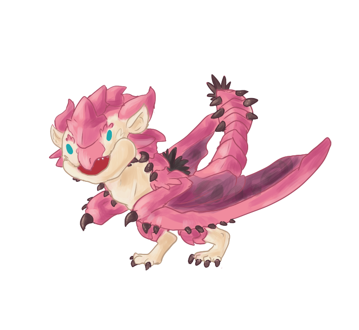 Doofy Baby Pink Rathian By Contrast Kitsune On Deviantart