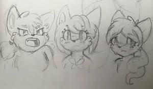 Sketch: Fairy Foxes Girls by Mephikal