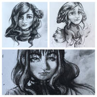 Charcoal: Character Sketch Dump by Mephikal