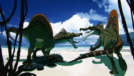 Spinosaurus fighting for food by pietro-ant