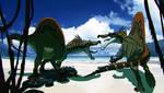 Spinosaurus fighting for food