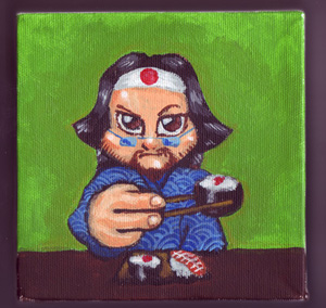 Cartoon Self Portrait Sushi by brickmickasso by brickmickasso