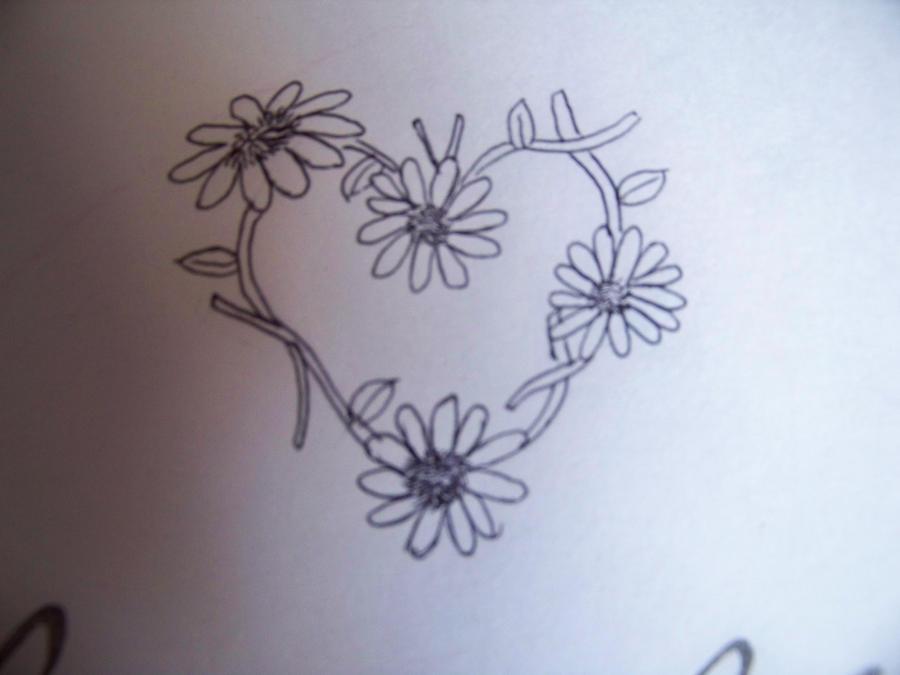 Heart Daisy Tattoo