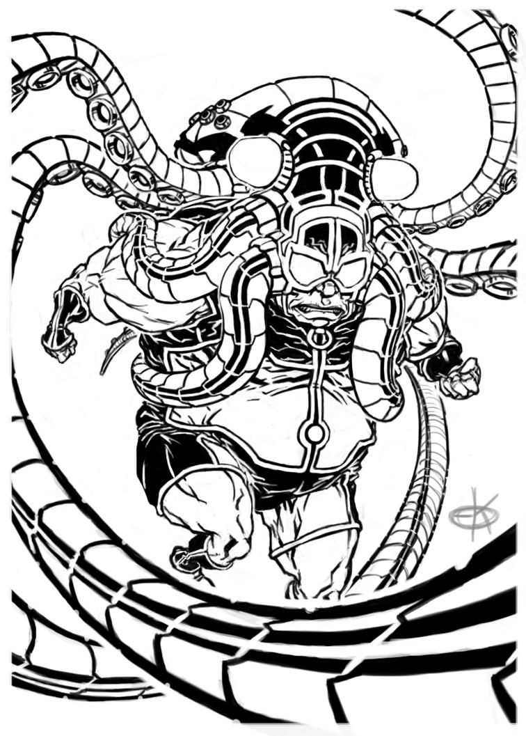 Line Drawing Of A Doctor : Doctor octopus redesign lineart by erickenney on deviantart