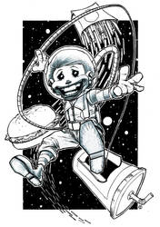 Ronald In Space pencil ink